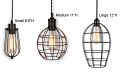 Wire Caged Plug In Mini Pendant Light Swag Lamp 3 Sizes