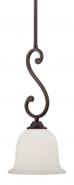 "Courtney Lakes Bronze & White Glass Mini Pendant Light 7""W"