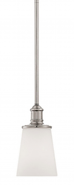"Cimmaron Satin Nickel White Glass Mini Pendant Light 5""Wx47""H"