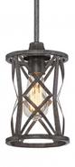 "Lakewood Antique Silver Iron Mini Pendant Light 6""Wx51""H"