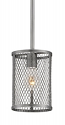 "Akron Brushed Pewter Wire Mesh Drum Bar Light 6""Wx47""H"