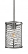 "Akron Brushed Pewter Wire Mesh Drum Mini Pendant Light 6""Wx47""H"
