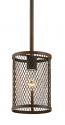 "Akron Dark Brushed Bronze Wire Mesh Drum Bar Light 6""Wx47""H"