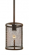 "Akron Brushed Bronze Wire Mesh Drum Mini Pendant Light 6""Wx47""H"