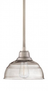 """Neo Industrial Brushed Nickel Pendant Light Clear Glass 8""""Wx44""""H"""