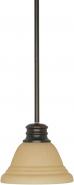 "Mahogany Bronze Champagne Linen Glass Pendant Light 7""Wx51""H"