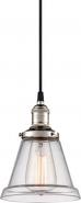 "Vintage Polished Nickel & Tapered Glass Pendant Light 6""Wx11""H"