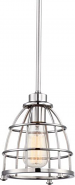 """Maxx Polished Nickel Metal Wire Cage Pendant Light 7""""Wx46""""H"""
