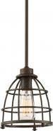 "Maxx Mahogany Bronze Metal Wire Cage Pendant Light 7""Wx46""H"