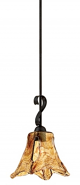 "Chatsworth Burnished Gold Umber Glass Mini Pendant Light 8""Wx53""H"