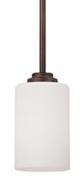 "Bristo Dark Bronze White Drum Glass Mini Pendant Light 5""Wx45""H"