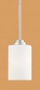 "Bristo Satin Nickel Drum Glass Mini Pendant Light 5""Wx45""H"