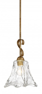 "Chatsworth Vintage Gold Swirl Glass Mini Pendant Light 8""Wx53""H"