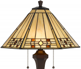 "Cream with Amber Jewels Mission Tiffany Floor Lamp 60""H"