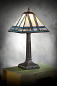 "Small Ivory and Blue-Green Mission Tiffany Table Lamp 20""H"