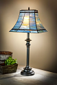 "Rectangle Mission Tiffany Table Lamp Turbulent Blue Art Glass 31""H - Sale !"