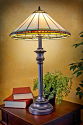 "Ivory and Amber Jewels Mission Tiffany Table Lamp 29""H"