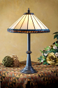 "Small Ivory with Amber Jewels Mission Tiffany Table Lamp 20""H"