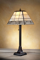 "Rectangle Mission Tiffany Table Lamp Cream and Clear Textures 23""H"
