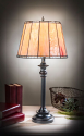 "Fiery Sunset Drum Shade Mission Tiffany Table Lamp 25""H"
