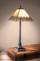 "Chevron Cream Amber Clear Mission Tiffany Table Lamp 23""H"