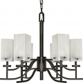 "Cubica Textured Black Chandelier Alabaster Glass 26""Wx22""H"