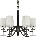 """Cubica Textured Black Chandelier Square Shades 26""""Wx22""""H"""