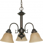 "Ballerina Mahogany Bronze Down Light Chandelier Glass Shades 20""Wx17""H"
