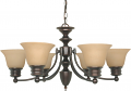 "Empire ORB Bronze Chandelier Alabaster Glass 26""Wx14""H"