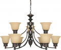 "Empire ORB Bronze Chandelier Alabaster Glass 32""Wx18""H"