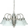 "Brushed Nickel Down Light Chandelier Alabaster Glass Shades 23""Wx13""H"