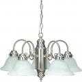 "Brushed Nickel Chandelier Alabaster Bell Glass Shades 23""Wx13""H"