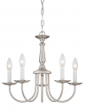 "Brushed Nickel Chandelier White Candlesticks 18""Wx14""H"