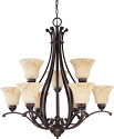 "Anastasia ORB Bronze Chandelier Glass Shades 34""Wx34""H"