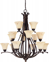 "Anastasia ORB Bronze Chandelier Glass Shades 38""Wx41""H"