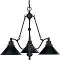 """Bridgeview ORB Bronze Down Light Chandelier Metal Shades 26""""Wx22""""H"""