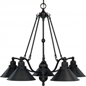 "Bridgeview ORB Bronze Down Light Chandelier Metal Shades 30""Wx27""H"