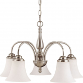 "Dupont Brushed Nickel Chandelier Glass Shades 22""Wx16""H"
