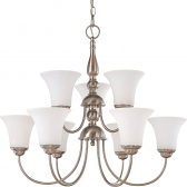 "Dupont Brushed Nickel Chandelier Glass Shades 27""Wx23""H"