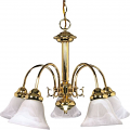 "Ballerina Polished Brass Down Light Chandelier Glass Shades 24""Wx18""H"