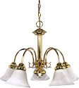 "Ballerina Polished Brass Chandelier Glass Shades 24""Wx18""H"
