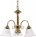 "Ballerina Polished Brass Chandelier Glass Shades 20""Wx17""H"