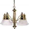 "Gotham Polished Brass Down Light Chandelier Alabaster Glass 24""Wx17""H"