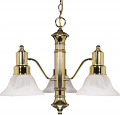 "Gotham Polished Brass Down Light Chandelier Alabaster Glass 22""Wx17""H"