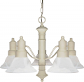 "Gotham Textured White Down Light Chandelier Alabaster Glass 24""Wx17""H"