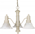"Gotham Textured White Down Light Chandelier Alabaster Glass 22""Wx17""H"