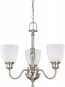 """Bella Brushed Nickel Chandelier Frosted Glass Shades 21""""Wx20""""H"""