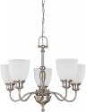 """Bella Brushed Nickel Chandelier Frosted Glass Shades 24""""Wx20""""H"""
