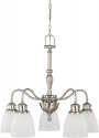 """Bella Brushed Nickel Chandelier Frosted Glass Shades 24""""Wx23""""H"""