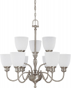 """Bella Brushed Nickel Chandelier Frosted Glass Shades 29""""Wx28""""H"""